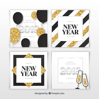 silver and golden new year 2018 cards with glitter elements