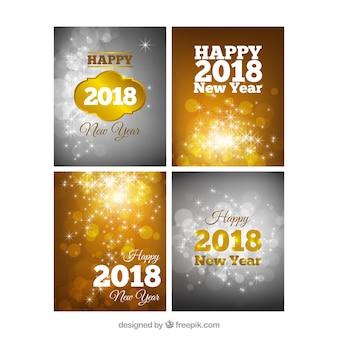 シルバーとゴールデンの新年カード