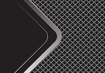 Silver arrow curve black blank space on grey square mesh.