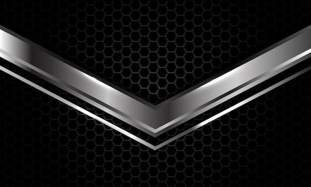 Silver arrow direction overlap dark grey metallic hexagon mesh luxury futuristic background vector