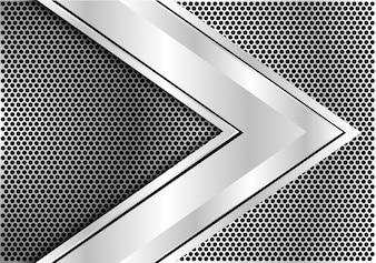 サークルメッシュの背景に銀の矢の速度方向。
