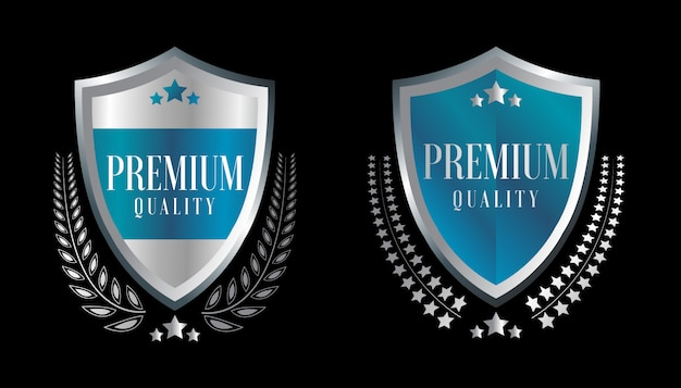 Silver badges and labels premium quality