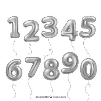 Collezione di numeri di palloncini d'argento