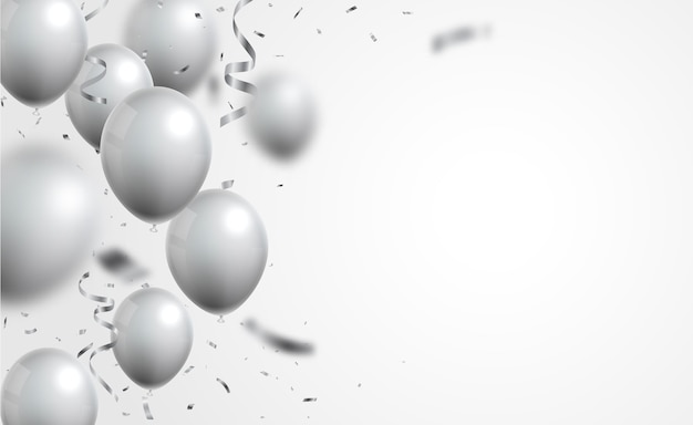 Серебряные шары и конфетти