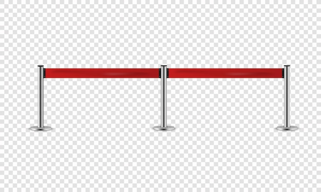 Silver barrier with red ribbon for vip presentation.