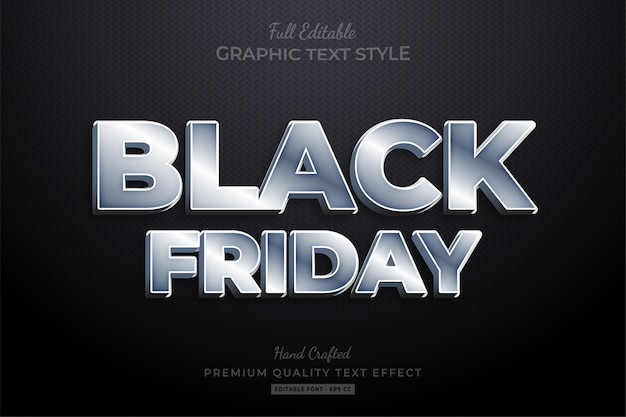 Silver black friday editable text style effect premium