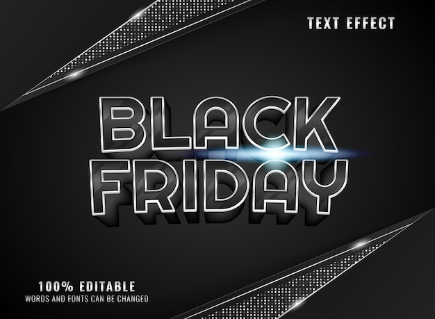 Silver black friday with background frame editable text effect