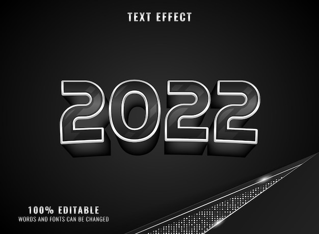 Silver black glossy 2022 new year text effect