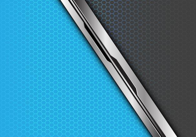 Silver black line blue grey hexagon mesh background.