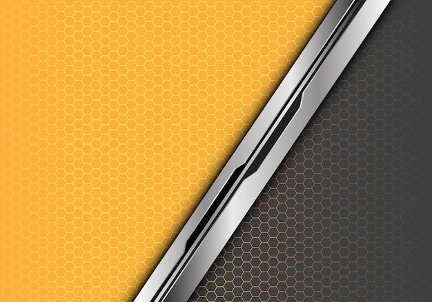 Серебристо-черная линия желтого серого шестиугольника.