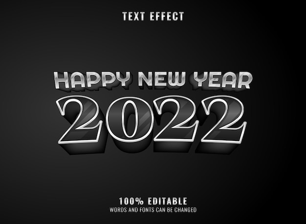 Silver black luxury 2022 new year editable text effect