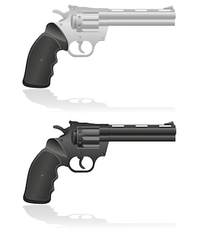 Silver and black revolvers vector illustration