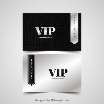 Silver and black vip cards
