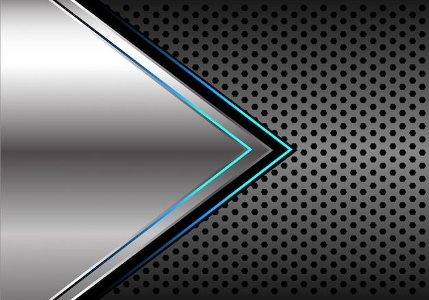 Silver blue light arrow dark grey circle mesh background.