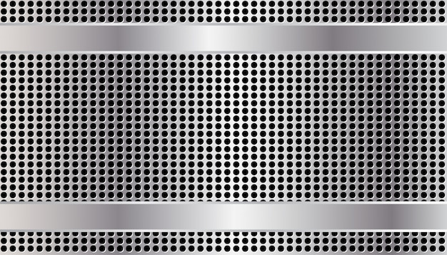 Silver  border on  metal perforated texture