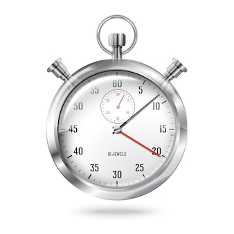 Silver bright stopwatch clock isolated on white background