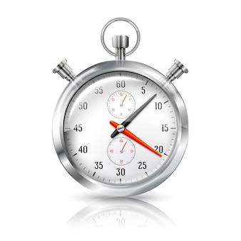 Silver bright stopwatch clock with reflection, isolated on white background.