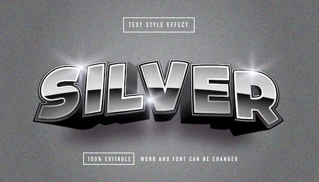 Silver bright text effect editable