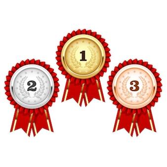 Silver, bronze and golden medals  - award rosette