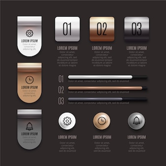 Silver and bronze tones of 3d glossy infographic