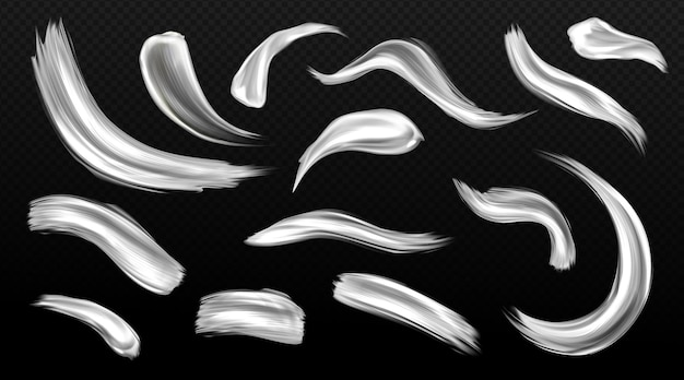 실버 브러시 스트로크, 금속 페인트 얼룩, 회색 또는 흰색 금속 질감 얼룩