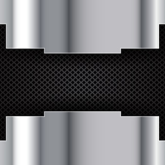 Silver brushed metal on a perforated background