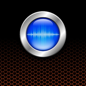 Silver button with blue sound wave sign on orange hex grid