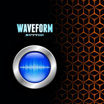 Silver button with sound wave sign on unusual grid