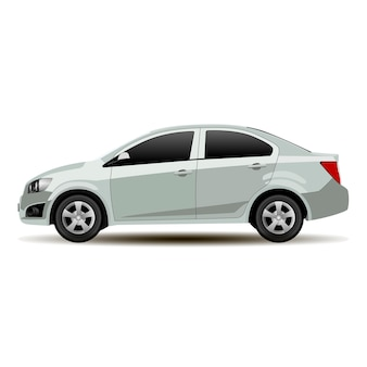 Silver car sedan side view. vector vehicle flat