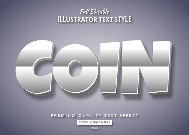Silver cartoon 3d text style effect