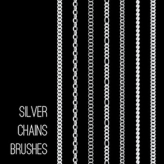 Silver chains brushes set isolated on black