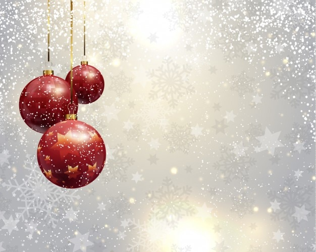 Silver christmas background with red baubles