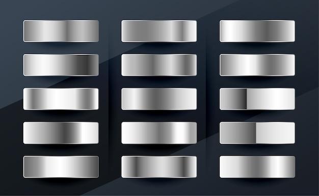 Set di sfumature metalliche argento cromo platino o alluminio