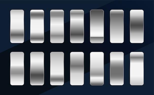 실버 크롬 플래티넘 또는 알루미늄 메탈릭 그라디언트 세트