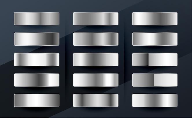 Набор градиентов из серебра, хрома, платины или алюминия и металла