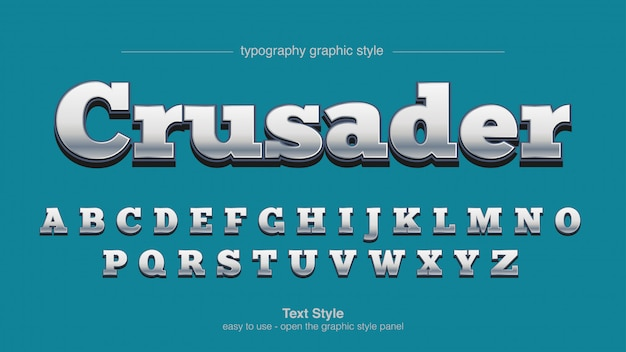 Типографский стиль с серебряным хромовым покрытием с засечками