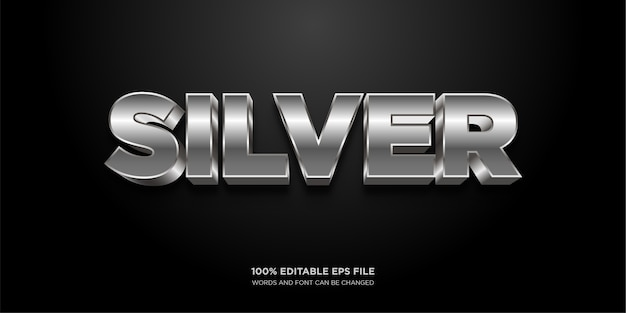 Silver chrome text style effect