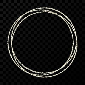 シルバーサークルフレーム。暗い透明な背景に分離された光の効果を持つモダンな光沢のあるフレーム。ベクトルイラスト。