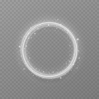 반짝이 조명 효과와 실버 원형 프레임