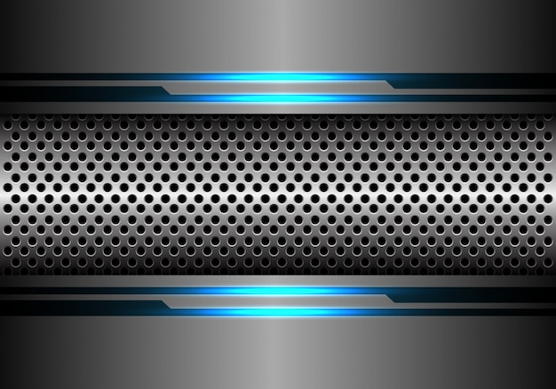 Silver circle mesh in grey metal blue light energy background.