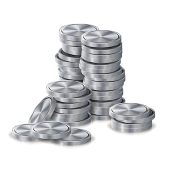 Silver coins stacks