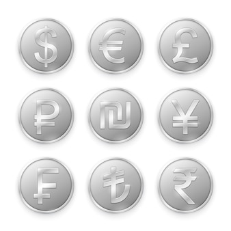 Silver coins with symbols of top world currencies