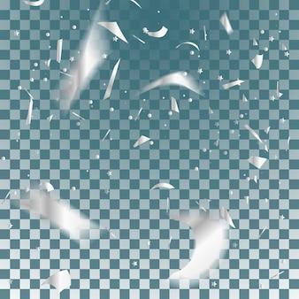 銀の紙吹雪落下する光沢のある紙吹雪は、透明な市松模様の背景に分離されたきらめき