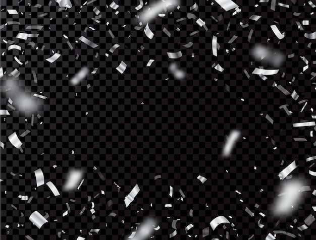 透明な背景に分離された銀の紙吹雪