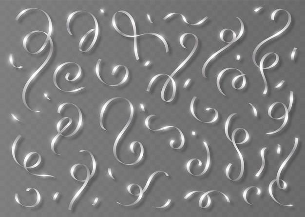 銀の紙吹雪セット、灰色の背景に分離された影と光沢のあるリボン。装飾的な見掛け倒しと蛇紋石の断片。リアルなパーティーデコレーション。ベクトルイラスト。