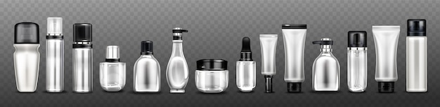 Silver cosmetic bottles, jars and tubes for cream, spray, lotion and beauty products.