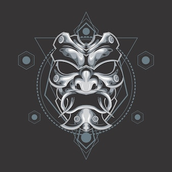 Silver demon mask sacred geometry