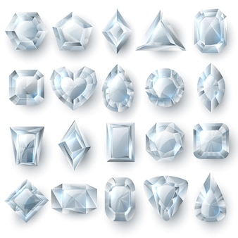 Silver diamonds gems, cutting stones jewelry vector set isolated