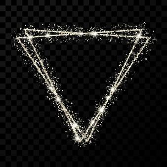 Серебряная рамка с двойным треугольником. современная блестящая рамка со световыми эффектами, изолированные на темном прозрачном фоне. векторная иллюстрация.