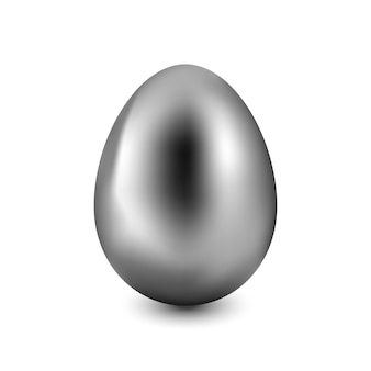 Silver easter egg on a white background with a light shadow